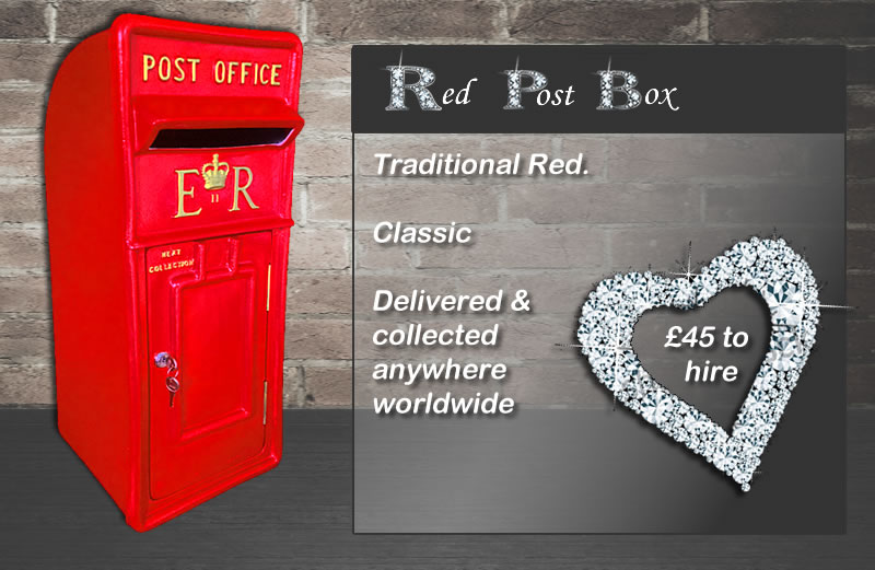 Red Wedding Post Box for hire