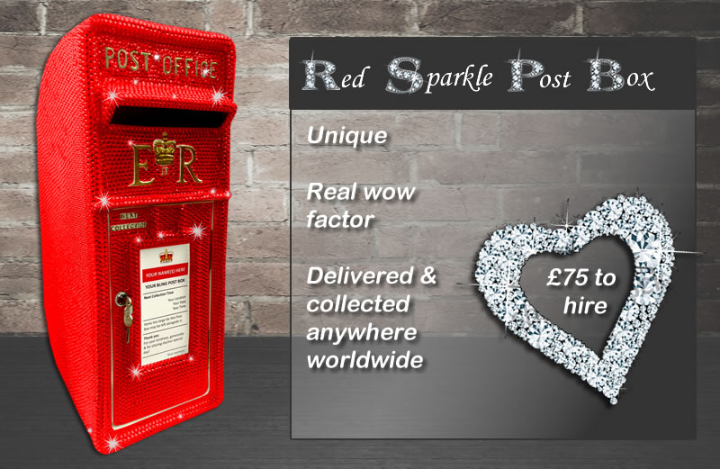 Red Sparkle Diamante Wedding Post Box for hire